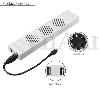 USB Cooling Fan Heat Temp Exhauster 3 Fans Cooler for Xbox One S Slim Console