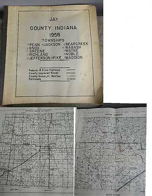 1958 Jay County Indiana Township Large Farm Plat Book