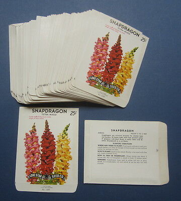 Wholesale Lot of 100 Old Vintage 1960's SNAPDRAGON FLOWER SEED PACKETS - EMPTY