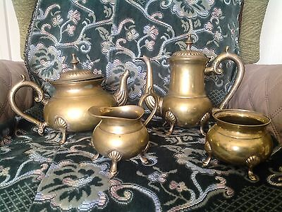 Antique EPNS Silver Plated tea and coffee set (Silver Very Worn) Teapot,Milk,