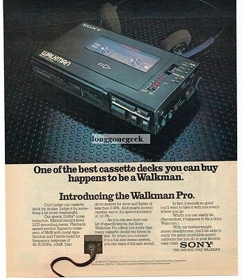1982 Sony WALKMAN PRO Portable Cassette Player Vtg Print Ad