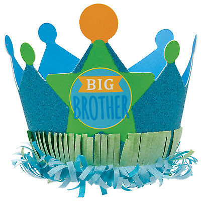 Blue Green BIG BROTHER New Baby Shower Party Paper Glitter Crown Hat
