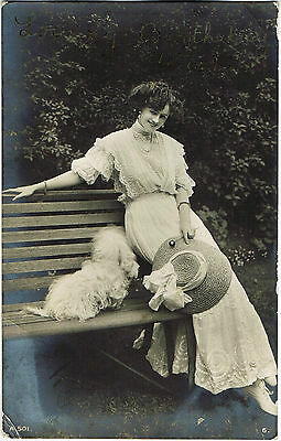 Vintage 1918 RP GREETINGS POSTCARD: LOVING BIRTHDAY WISHES: BEAUTIFUL GIRL & DOG
