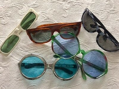 Lot of 5 Vintage Sunglasses 60s 70s 80s Groovy Oversized New Wave FREE SHIP