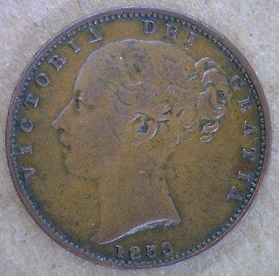 1853 Copper Farthing Great Britain UK Coin XF