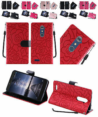 For ZTE ZMAX Pro ZTE Carry Textured PU Leather Wallet Cover Case