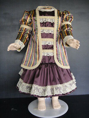 "Silk french Doll Dress + Jacket  -Antique Style for 24-26""doll -from France"