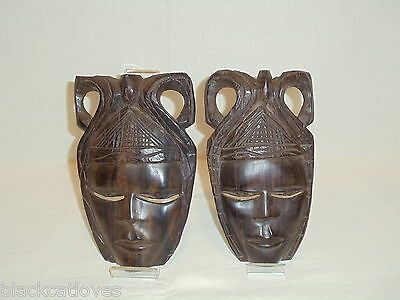 Pair Of Vintage African Carved Tribal Wooden Masks In Ebony Wood