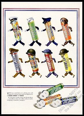 1943 Life Savers candy roll as US Army Navy Marines USAF vintage print ad