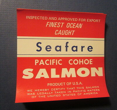 Wholesale Lot of 100 Old Vintage - SEAFARE - Pacific Cohoe SALMON LABELS
