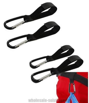 4x Universal Buggy Mummy Clips Pram Pushchair Shopping Bag Hook Carabiner Clip