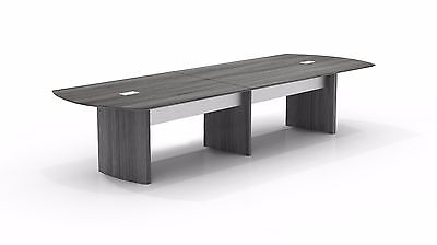 12ft Stylish Modern Office Conference Table with Gray Steel Laminate Finish
