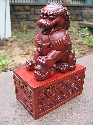Rare Vintage Hand Carved Wooden Chinese Foo Dog sitting on box ONE OF A KIND