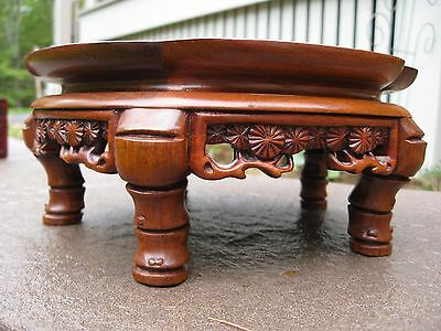 Chinese hand carved footed wood display stand for statue; lamp VERY DETAILED