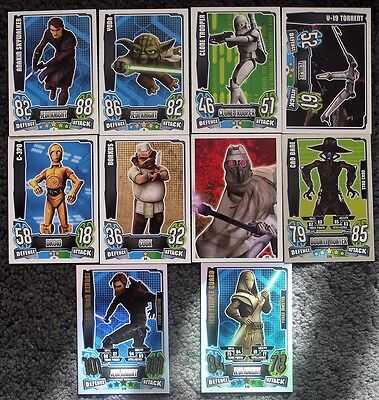 100+ Star Wars Force Attax Series 4 Trading Cards - Blue Back (Animation) Topps