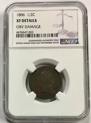 1806 HALF CENT  1/2c  DRAPED BUST    XF DETAILS   NGC CERTIFIED