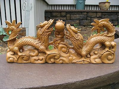 "19"" VINTAGE LARGE Chinese Hand Carved Boxwood Dragons Serpents Detailed !!!"