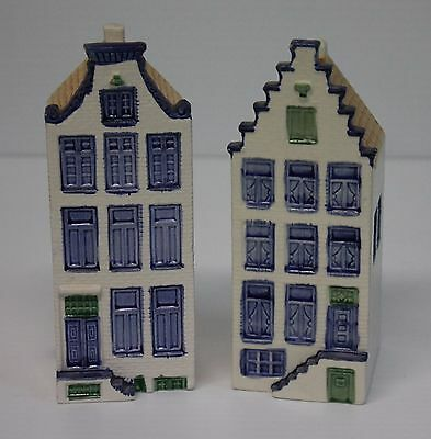 "2 Delftware Canal Houses Amsterdam Designed By Elesva 5 3/4"" Tall"