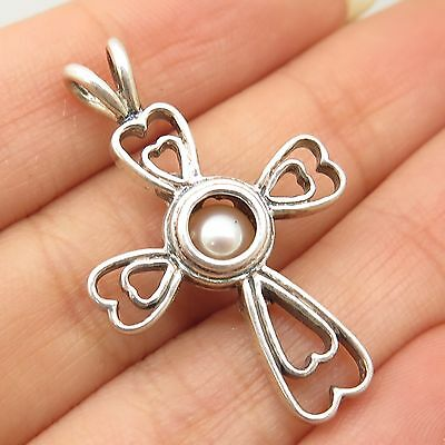 925 Sterling Silver Real Pearl Heart  Locked Cross Pendant