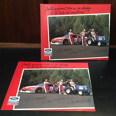 """2 Collectible Ford New Holland  The Elliots Race Car Advertising Pc's 8 X 10"""""""