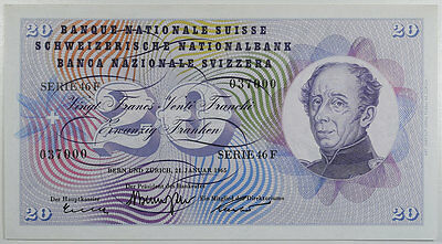 January, 21 1965 Switzerland 20 Francs Note, #46L About Uncirculated