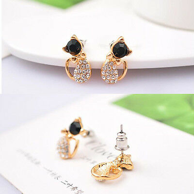 1 Pair Safety Babys Girls Cute Cat Stud Earrings Ear CZ Gold Plated Ear Rings