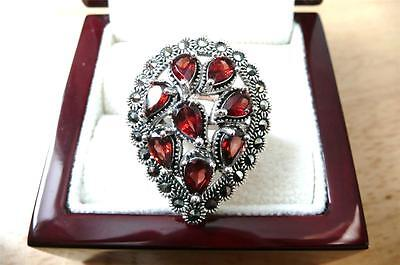 Large Red Garnet & Marcasite 925 Sterling Silver Pear Ring Size P 8