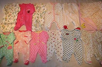 Lot of baby girls pajamas, sleepers, size NB, Newborn, onepiece matching blanket
