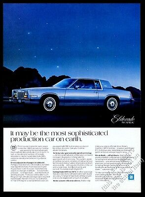 1980 Cadillac Eldorado blue car evening photo vintage print ad