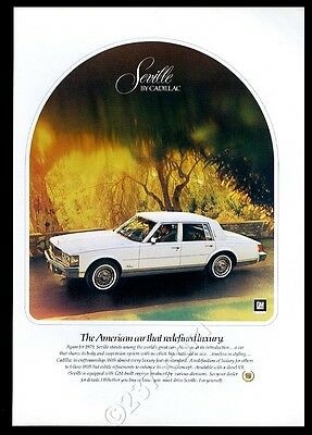 1979 Cadillac Seville white car photo vintage print ad