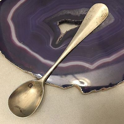 Lovely Antique French Sterling Silver Salt Spoon c1840 w/ Makers Hallmark -L678