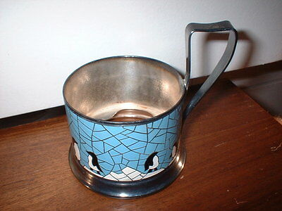"Russian ""Podstakannik"" tea glass holder - penguin enamel silver plate - marked"