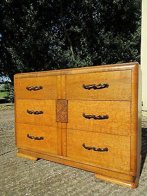 Large Antique Vintage Art Deco Oak & Walnut Chest Of Drawers Circa 1938