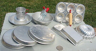 Vtg Lot Aluminum Toy Miniature Baking Dishes Pie Pans Muffin Measuring Cup Mixer