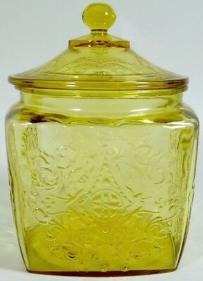 Amber Textured GLASS CANISTER Square Apothecary Jar Lid Antique Vtg Large 7-3/4""
