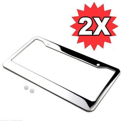 2pcs Silver Car Vehicle License Plate Frame Stainless Tag Cover With Screw Cap