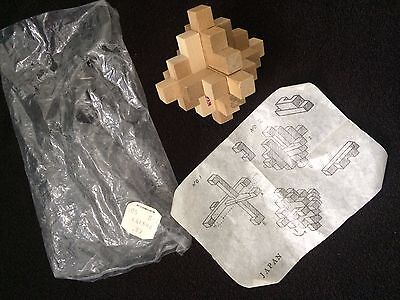Vintage Antique The  Block Wood Puzzle  Diagram Made In Japan