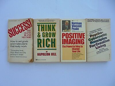 4 Lot Self Help Peale Think Grow Rich Hill Psychocybernetic Creative Success