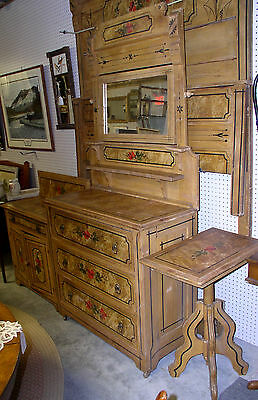 Victorian cottage 5 pc bedroom set- full bed, dresser, mirror, commode, table