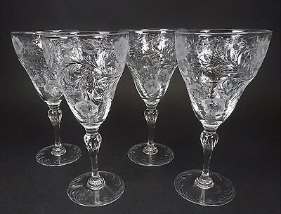 GORGEOUS Thomas Webb Cut Floral Crystal Tall Wine Glasses Stems - Set of 4