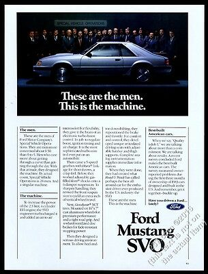 1984 Ford Mustang SVO silver car photo vintage print ad