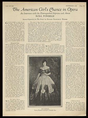 1929 Rosa Ponselle portrait & opera interview trade print article