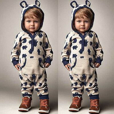 Kids Baby Boys Girls Warm Infant Romper Jumpsuit Bodysuit Cotton Clothes Outfits