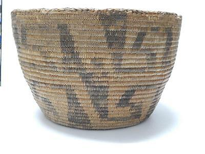 BIG SHOWY ANTIQUE VINTAGE ARIZONA PIMA INDIAN BASKET - MAZE DSGN - c.1890-1920