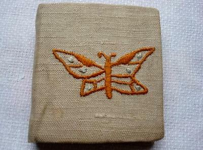 Vintage Antique Linen Pin Needle Book Case Holder Embroidered Butterfly