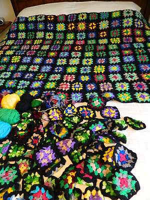 Vtg Granny Square Afghan 41x67 & Extra Squares & 100% Virgin Wool Yarn & More