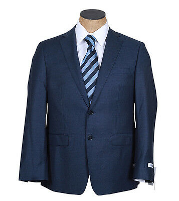 NEW Mens Calvin Klein Blue Flannel Extreme Slim Fit Wool Suit 44S 44 S