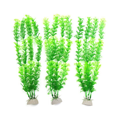 3pcs Plastic Aquarium Fish Tank Water Grass Plant Decorative Ornament