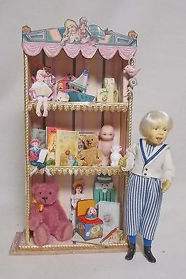 Dolls house miniature Nursery or Shop Filled Toy Cabinet
