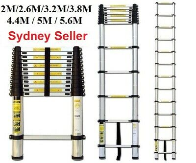 2/2.6/3.2/3.8/4.1/4.4M Telescopic Aluminium Ladder Extension Extendable Steps